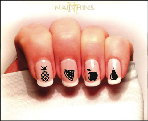 Fruit Nail Decal Pineapple, Watermelon and more Set #1 in Silhouette By NAILTHINS
