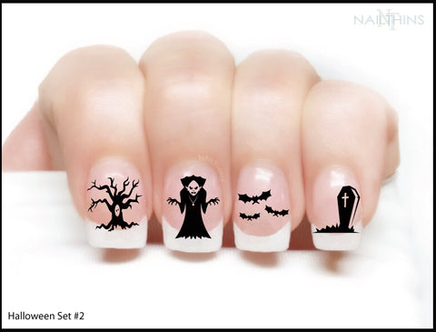 Halloween Nail Decals set #2, Dracula, Nail Wraps, Vampire Bats, Spooky Trees, Tombstone, Nail Art by NAILTHINS