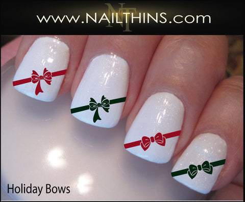Holiday Bows Nail Decal Christmas Bow nail design Nail Art by NAILTHINS