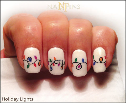 Holiday Lights Nail Decals Christmas Light Nail Art by NAILTHINS