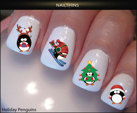 Winter Holiday Penguin Nail Decals by NAILTHINS