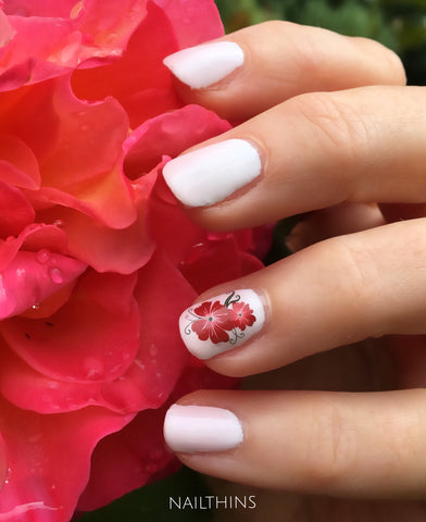 Red Flower Hawaiian Nail Decal Hawaii Flower Nailthins Tropical Nail D