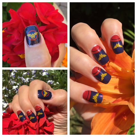 Wonder Woman Nail Wraps, WW nail decals by NAILTHINS