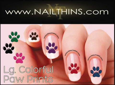 Colorful Dog Paw Prints Nail Decals NAILTHINS Nail Designs