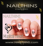 Musical Heart NAILTHINS Nail Decal