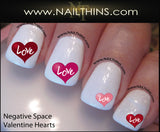 Hearts of Love Nail Decal Negative Space nail art design by NAILTHINS