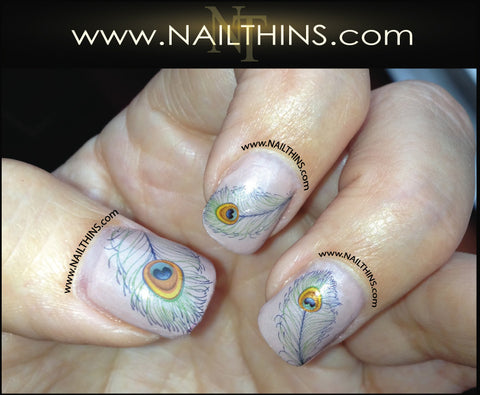 Peacock Feather Nail Decal Peacock Nail Art Feather Nail Designs NAILTHINS
