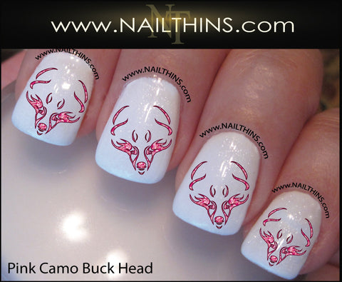 Buck Head Nail Decal pink camo deer NAILTHINS Nail Designs