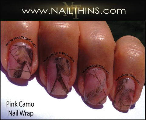 Pink Camo Leaves and Real Tree Nail Decal Full Nail Wraps by NAILTHINS