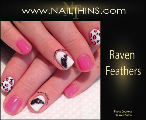 Raven Feather Nail Decal Halloween Feather Black by NAILTHINS