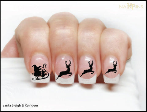 Santa Sleigh and Reindeer Nail Decal Designs by NAILTHINS