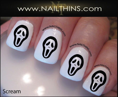 Scream Nail Decal Halloween Screaming Nail Art Design NAILTHINS