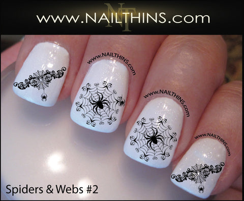 Spider Web Nail Decal Spider Set No. 2 Halloween Nail Art Web Nail Designs NAILTHINS