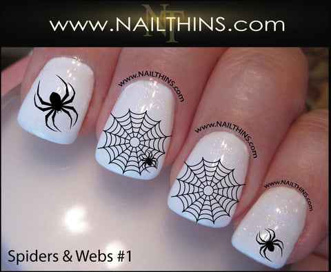 Spider Web Nail Decal Spider Set No. 1 Halloween Nail Art Web Nail Designs  NAILTHINS - Spider Web Nail Decal Spider Set No. 1 Halloween Nail Art Web Nail