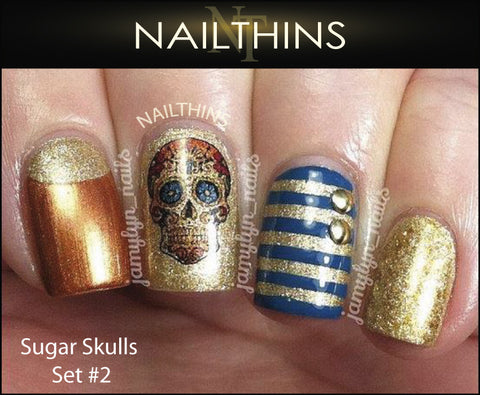 Sugar Skulls Nail Decal Set #2 NAILTHINS Skull Nails