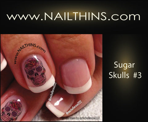 Sugar Skulls Nail Decal Set 3 Nailthins Skull Nails