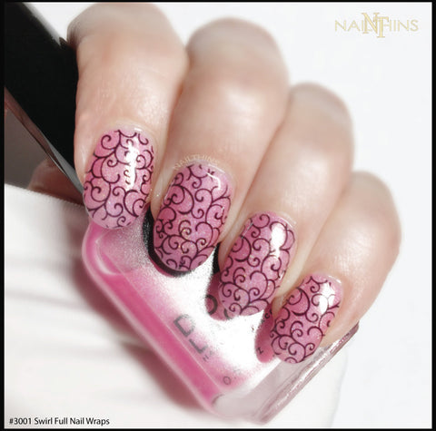 Swirl Design #3001 Black Scroll Lace Full Nail Wrap  by NAILTHINS