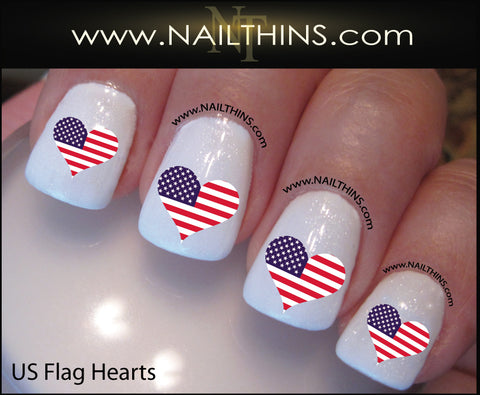 Flag Nail Decals, US Flag, Rebel Confederate or Union Jack Nail Designs, Heart Shaped