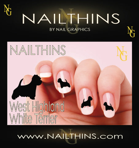 Westie - West Highland White Terriers NAILTHINS Silhouette Nail Decal
