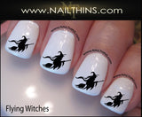 Flying Witch Nail Decals Halloween Witch on Broom Nail Art Nail Design by NAILTHINS