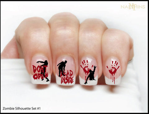 Zombie Nail Decals Silhouette Set 1, by NAILTHINS