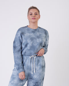 Plus: Dusty Blue Tie Dye Cropped Pullover