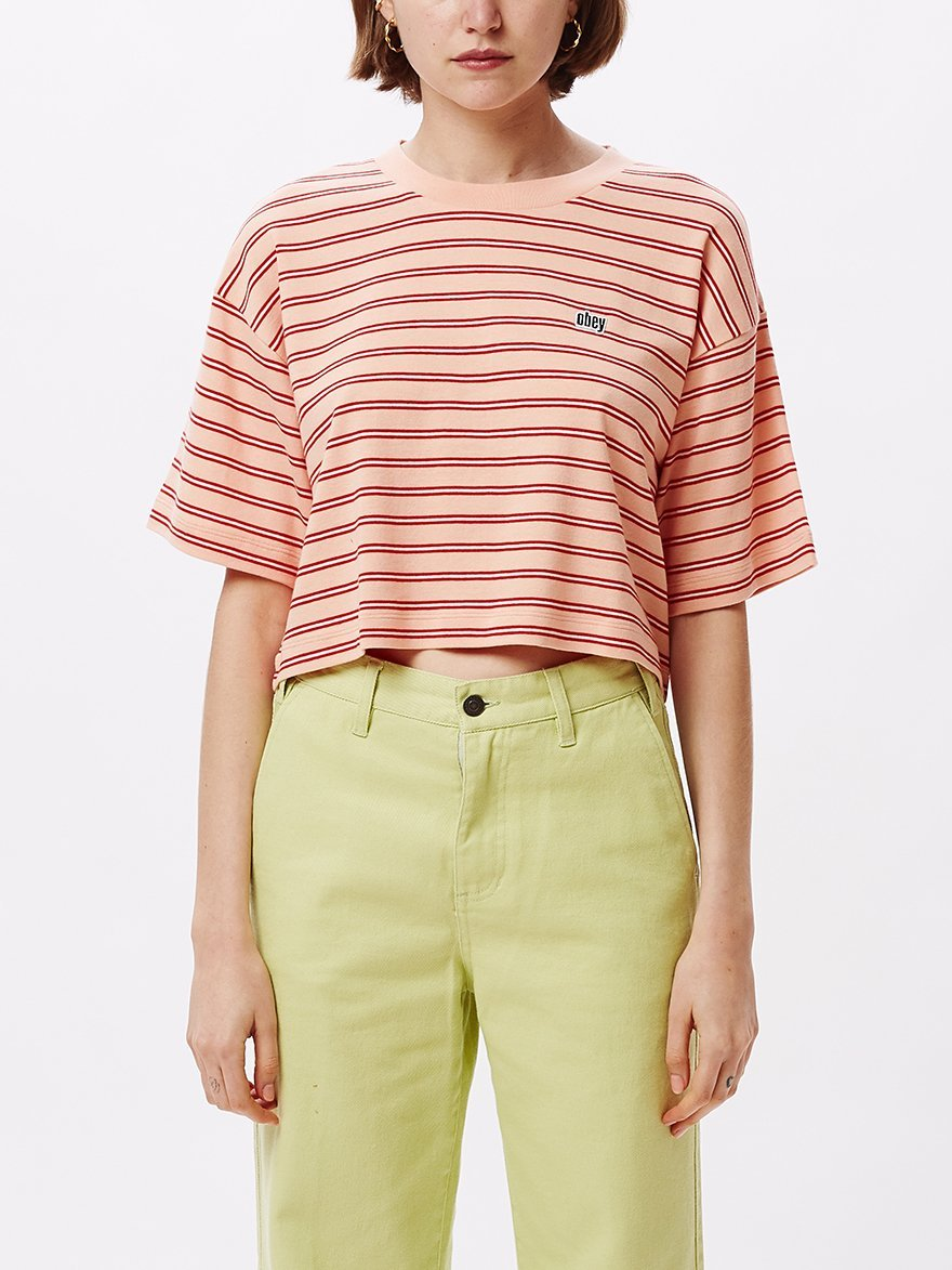 Pink 90's Stripe Boxy Crop Top