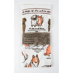 Tea Towel: Cats and Dogs of the Silver Screen