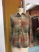 Load image into Gallery viewer, M: Vintage Harvest Grid 70's Blouse