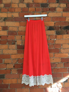 XS: Vintage Red and Lace Lounge Pants