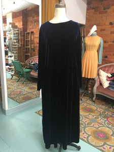 3XL-4XL: Vintage Deep Sea Blue Velvet Dress