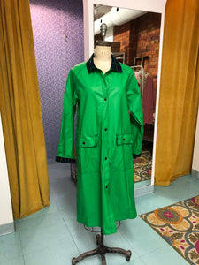 S-M: Vintage Long Green Raincoat with Plaid Lining