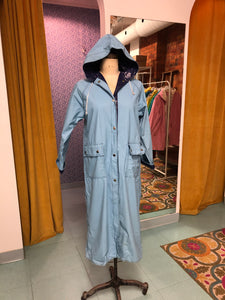 S-M: Vintage Long Light Blue Raincoat