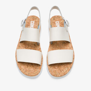 Camper Sandal: White Leather