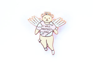 I Will Protect You Angel Enamel Pin