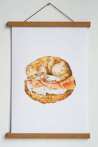 Bagel Cat Print by Stay Home Club