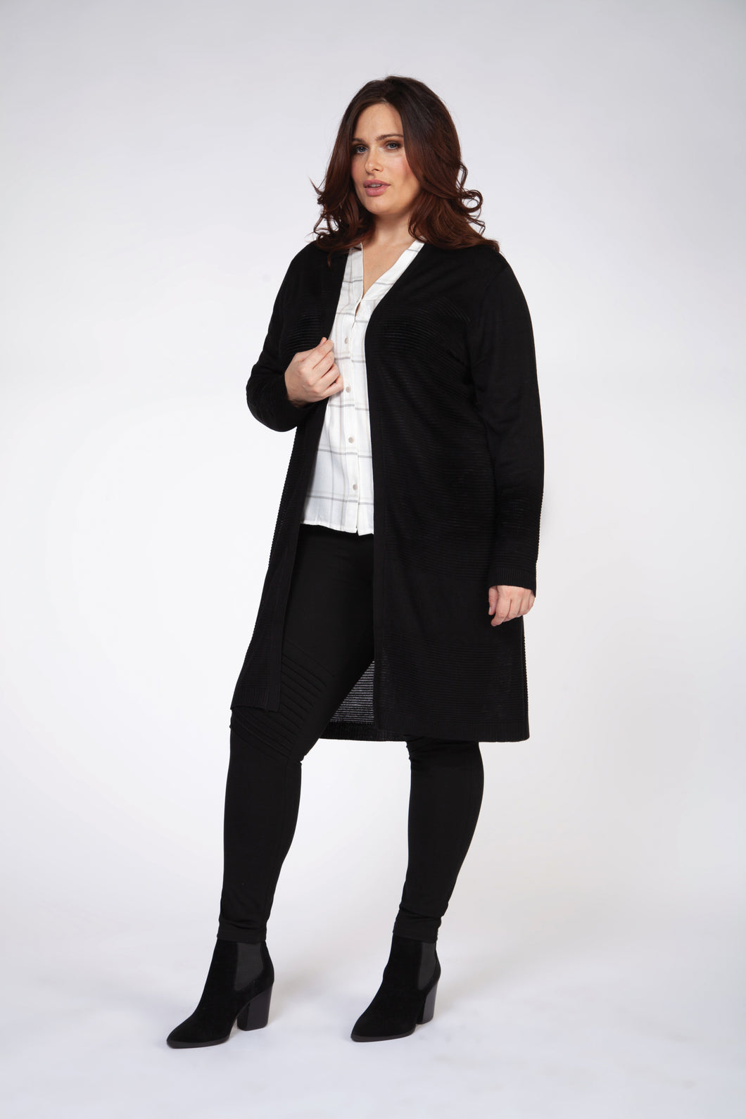 Plus: Long Black Duster Cardigan
