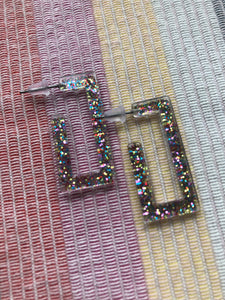 Small Sparkle Rectangle Hoops
