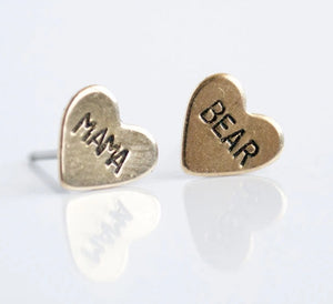Mama Bear Heart Earrings