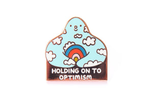 Holding On to Optimism Enamel Pin