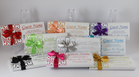 Personalised Chocolate Bars Individual Guest Names 2 in 1 Favour Place Card Names