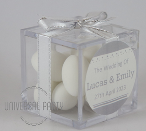 white sugared almonds wedding favours bombonieres personalised