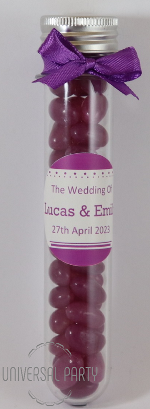 Personalised Acrylic Test Tube Jar Filled With Purple Jelly Beans - Solid Patterned