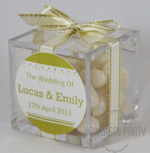 Personalised Square Acrylic Box Filled With White Jelly Beans - Solid Patterned