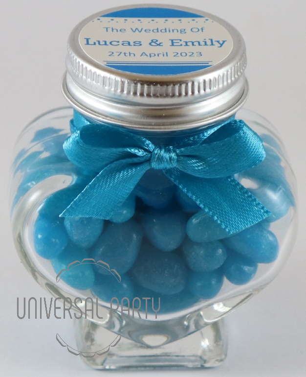 Personalised Glass Heart Shaped 60ml Jar Filled With Blue Jelly Beans - Solid Patterned