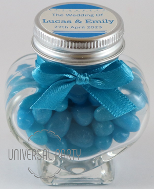 Personalised Glass Heart Shaped 60ml Jar Filled With Jelly Beans- Solid Patterned