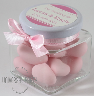 Personalised Glass Square 80ml Jar Filled With Pink Sugared Almond