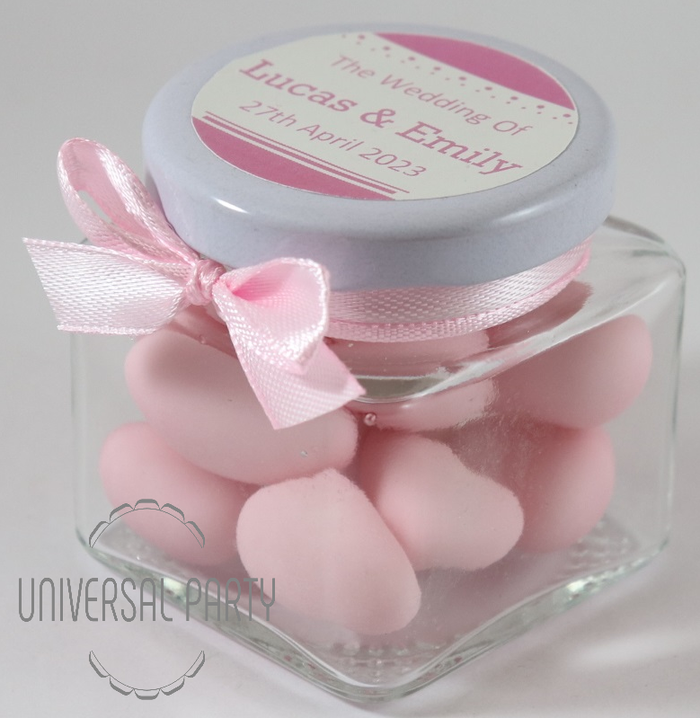 Personalised Glass Square 80ml Jar Filled With Pink Sugared Almonds - Solid Patterned