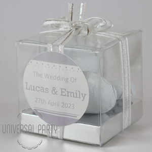 Personalised Square PVC Box Filled With White Foiled Wrapped Chocolate Hearts