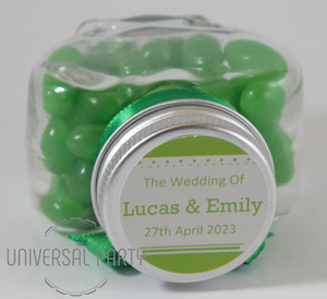 Personalised Glass Heart Shaped 60ml Jar Filled With Jelly Beans - Solid Patterned